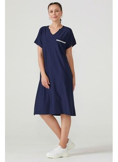 Sementa Büyük Beden Kadın V Yaka Rahat Kesim Elbise - Lacivert Lacivert